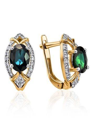 Золотые серьги в классическом дизайне с сапфирами и бриллиантами «Ундина», фото