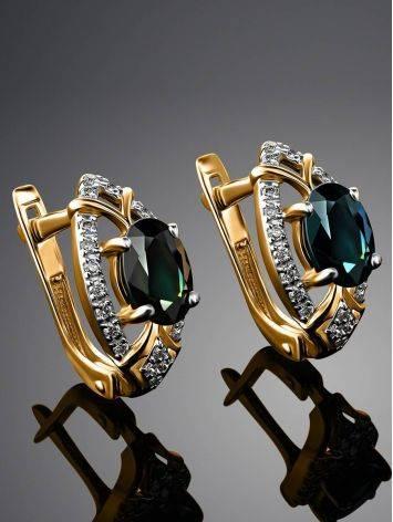 Золотые серьги в классическом дизайне с сапфирами и бриллиантами «Ундина», фото , изображение 2