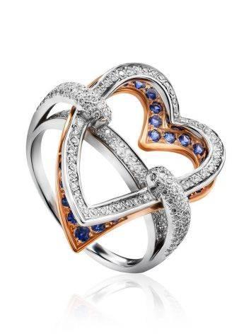 Объемное золотое кольцо в форме сердца с бриллиантами и сапфирами, Размер кольца: 18.5, фото