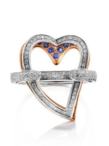 Объемное золотое кольцо в форме сердца с бриллиантами и сапфирами, Размер кольца: 18.5, фото , изображение 3