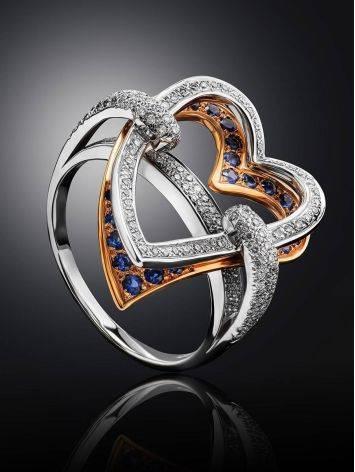 Объемное золотое кольцо в форме сердца с бриллиантами и сапфирами, Размер кольца: 18.5, фото , изображение 2