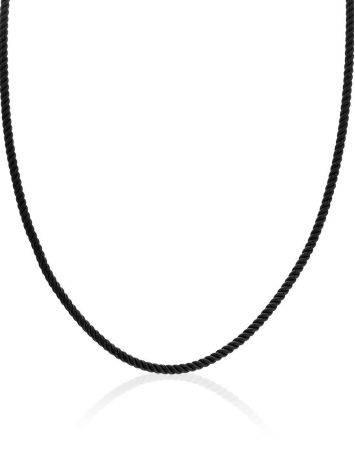 Черный шнур с серебряной застежкой, Длина: 45, фото , изображение 3