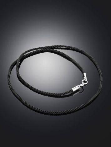 Черный шнур с серебряной застежкой, Длина: 45, фото , изображение 2
