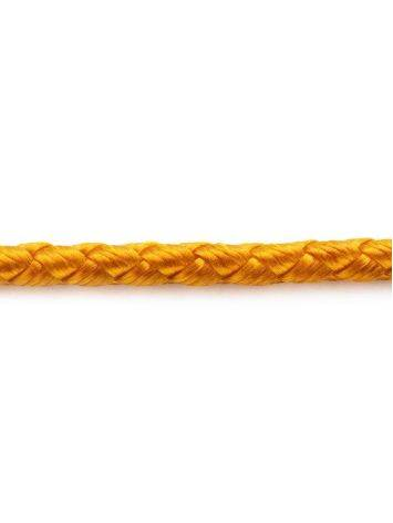 Золотистый текстильный шнурок с серебряной застежкой, Длина: 40, фото , изображение 3