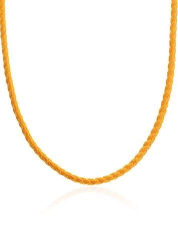 Золотистый текстильный шнурок с серебряной застежкой, Длина: 40, фото