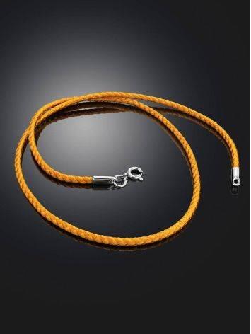Золотистый текстильный шнурок с серебряной застежкой, Длина: 40, фото , изображение 2