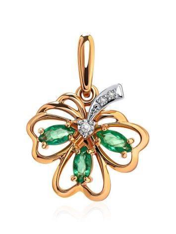 Золотой кулон с изумрудами и бриллиантами, фото
