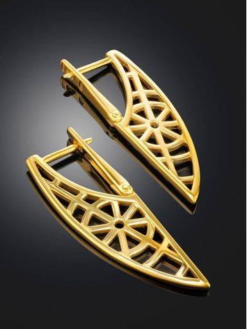 Эффектные геометричные позолоченные серьги, фото , изображение 2