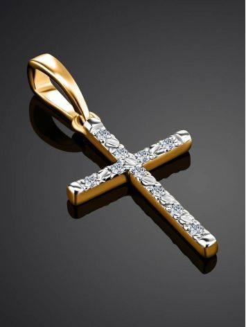 Золотой кулон-крестик с бриллиантами, фото , изображение 2