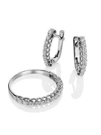 Стильное кольцо из белого золота с бриллиантами, Размер кольца: 16.5, фото , изображение 4