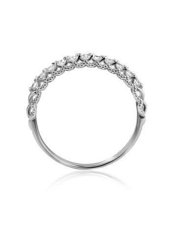 Стильное кольцо из белого золота с бриллиантами, Размер кольца: 16.5, фото , изображение 3