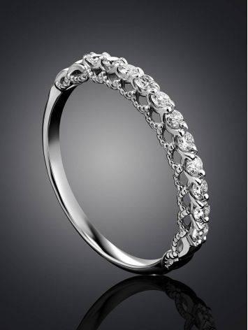 Стильное кольцо из белого золота с бриллиантами, Размер кольца: 16.5, фото , изображение 2