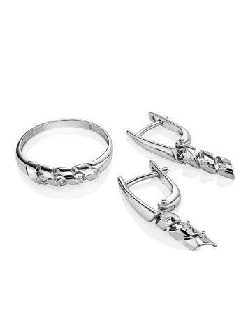 Бриллиантовое кольцо в белом золоте, Размер кольца: 16.5, фото , изображение 4