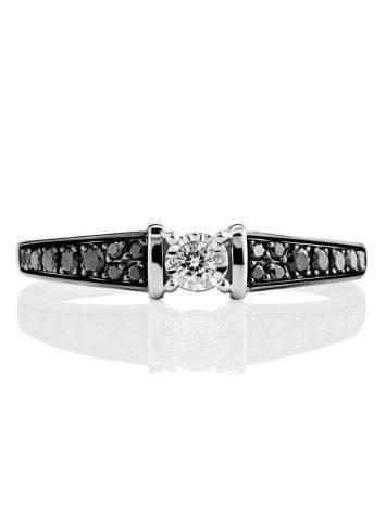 Золотое кольцо с черными и белыми бриллиантами, Размер кольца: 17.5, фото , изображение 3
