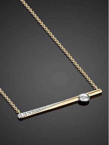 Золотое колье с необычной бриллиантовой подвеской, фото , изображение 2