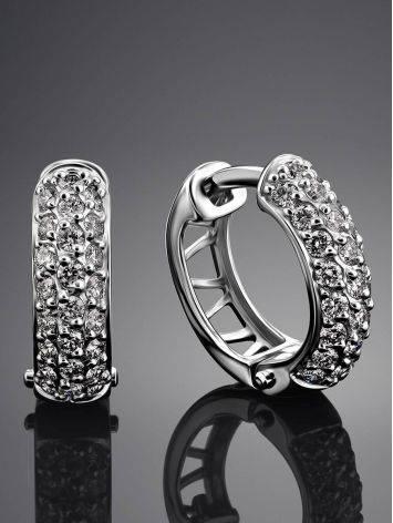 Стильные серьги из белого золота с бриллиантами, фото , изображение 2
