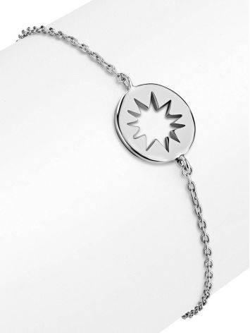 Тонкий серебряный элемент с круглым элементом Enigma, фото , изображение 3