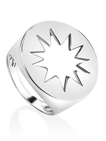 Серебряное кольцо-печатка с резным элементом Enigma, Размер кольца: 17, фото