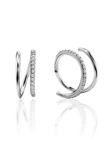 Необычные серебряные серьги с кристаллами, фото