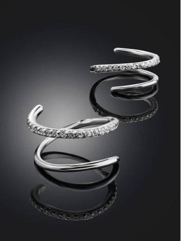 Необычные серебряные серьги с кристаллами, фото , изображение 2