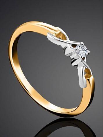 Женственное золотое кольцо с бриллиантом, Размер кольца: 16, фото , изображение 2