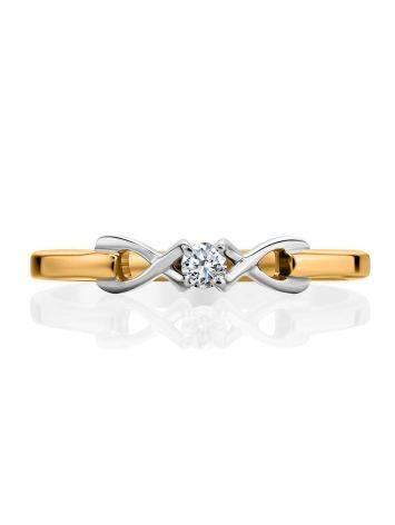 Женственное золотое кольцо с бриллиантом, Размер кольца: 16, фото , изображение 3