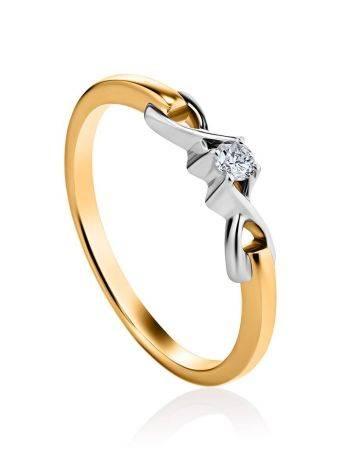 Женственное золотое кольцо с бриллиантом, Размер кольца: 16, фото