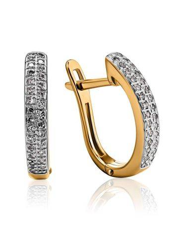Лаконичные золотые серьги с бриллиантовыми дорожками, фото