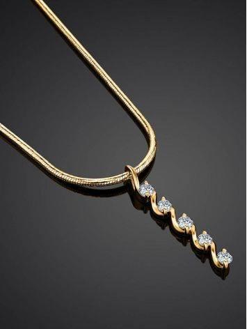 Нежное золотое колье с бриллиантовой подвеской, фото , изображение 2