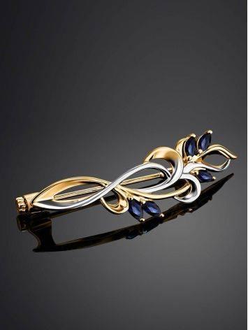 Нежная золотая брошь с сапфирами, фото , изображение 2