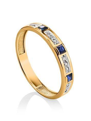 Золотое кольцо с сапфирами и бриллиантами, Размер кольца: 18, фото