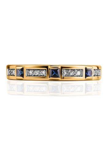 Золотое кольцо с сапфирами и бриллиантами, Размер кольца: 18, фото , изображение 3