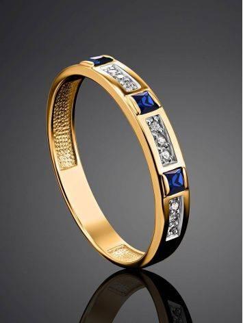 Золотое кольцо с сапфирами и бриллиантами, Размер кольца: 18, фото , изображение 2