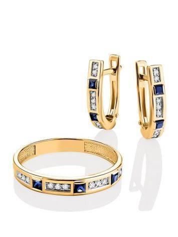 Золотое кольцо с сапфирами и бриллиантами, Размер кольца: 18, фото , изображение 4