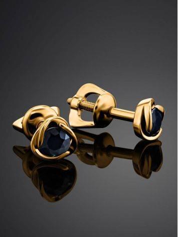 Золотые пусеты с сапфирами, фото , изображение 2