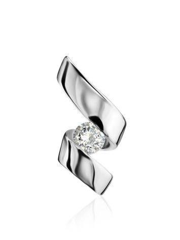 Небольшая подвеска из белого золота с бриллиантом, фото