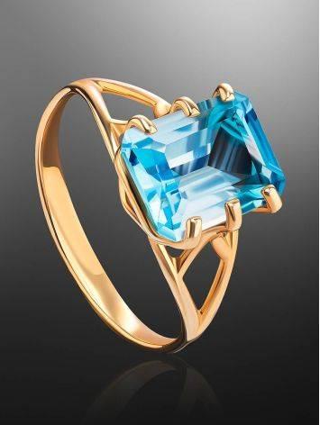 Яркое золотое кольцо с топазом, Размер кольца: 17.5, фото , изображение 2