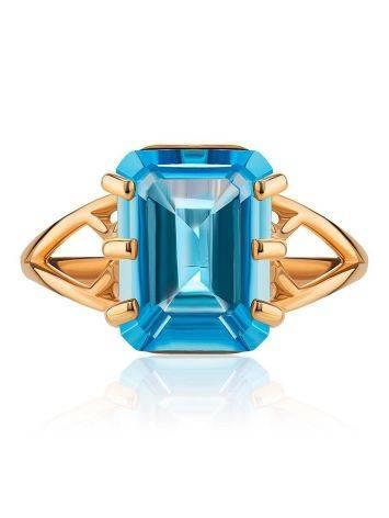 Яркое золотое кольцо с топазом, Размер кольца: 17.5, фото , изображение 3