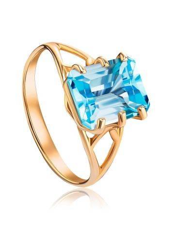 Яркое золотое кольцо с топазом, Размер кольца: 17.5, фото
