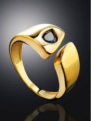 Стильное кольцо из позолоченного серебра с синими кристаллами, Размер кольца: 16.5, фото , изображение 2