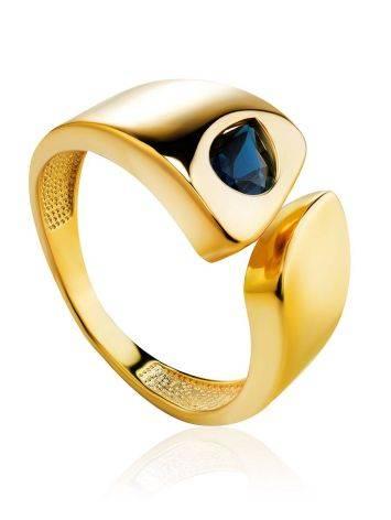 Стильное кольцо из позолоченного серебра с синими кристаллами, Размер кольца: 16.5, фото