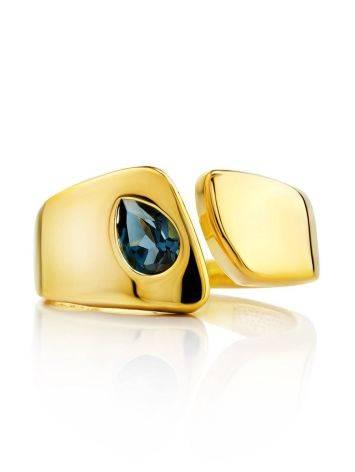 Стильное кольцо из позолоченного серебра с синими кристаллами, Размер кольца: 16.5, фото , изображение 3