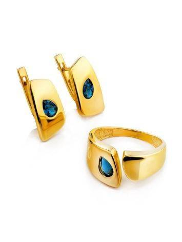 Стильное кольцо из позолоченного серебра с синими кристаллами, Размер кольца: 16.5, фото , изображение 4