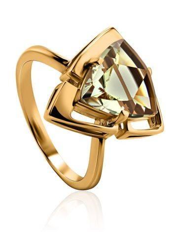 Объемное золотое кольцо с цитрином, Размер кольца: 17.5, фото