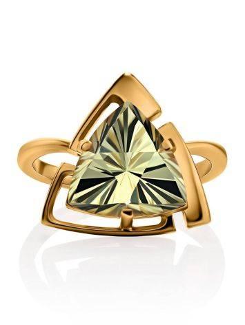 Объемное золотое кольцо с цитрином, Размер кольца: 17.5, фото , изображение 3