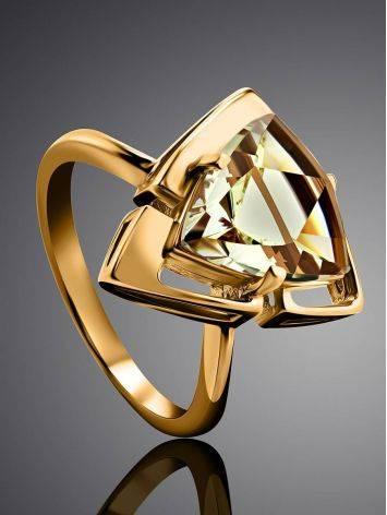 Объемное золотое кольцо с цитрином, Размер кольца: 17.5, фото , изображение 2