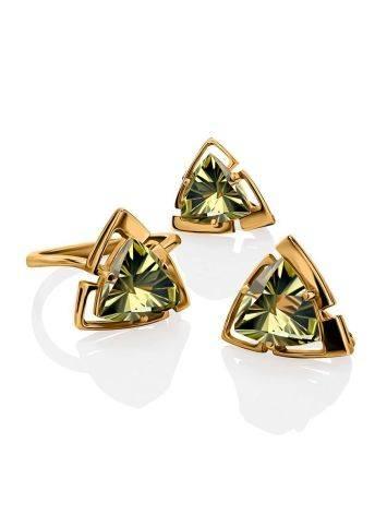 Объемное золотое кольцо с цитрином, Размер кольца: 17.5, фото , изображение 4