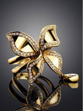 Потрясающее золотое кольцо в цветочном дизайне, Размер кольца: 18, фото , изображение 2