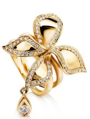 Потрясающее золотое кольцо в цветочном дизайне, Размер кольца: 18, фото