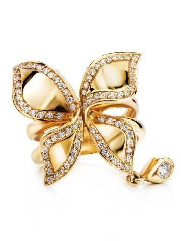 Потрясающее золотое кольцо в цветочном дизайне, Размер кольца: 18, фото , изображение 3